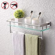 KES Stainless Steel Bathroom Glass Shelf with Towel Bar