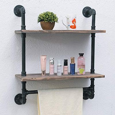 Bathroom Shelves Wall Mounted 2 Tiered,24in Industrial Pipe Shelving
