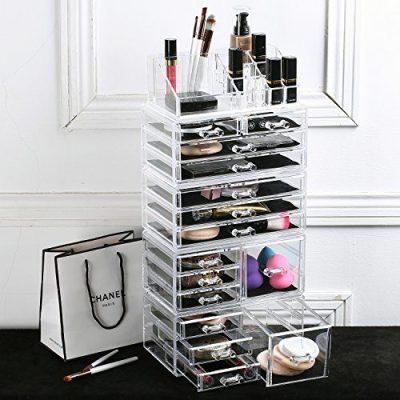 Ikee Design Acrylic Jewelry Makeup Drawer Organizer Tray Five Pieces Set