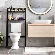 HOMECHO 2 Tier Over The Toilet Storage Short Bathroom Organizer Shelf