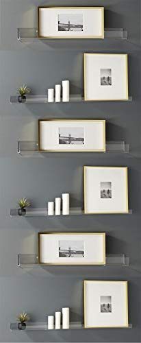 Blingsoul Clear Heavy Duty Floating Shelves - (6 Pack) 15 Inches Acrylic Bathroom