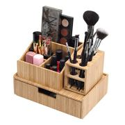 MobileVision Bamboo Makeup Organizer Complete Combo, 3 PC Set Includes