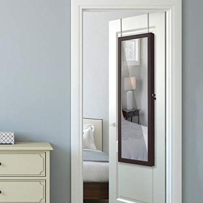 LUXFURNI LED Light Jewelry Cabinet Wall-Mount/Door-Hanging Mirror