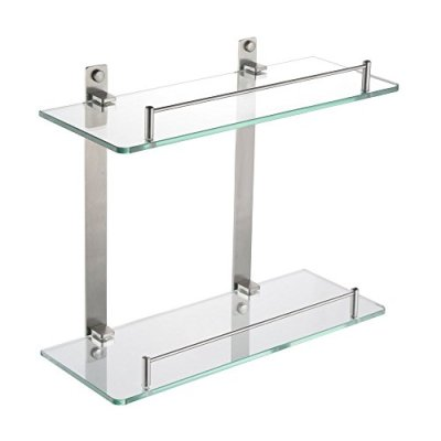 HOMEIDEAS Bathroom Frosted Glass Shelf Wall Mounted Brushed Nickel