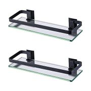 KES Bathroom Glass Shelf Aluminum Black Extra Thick Tempered Glass