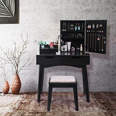 BEWISHOME Makeup Vanity Set, Lockable Jewelry Cabinet with Mirror