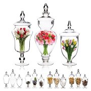 Emenest Clear Glass Apothecary Jars with Lids, 3 Pack Kitchen Canisters