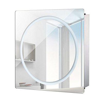 HomCom LED Ring Sliding Bathroom Mirror/Medicine Wall Cabinet