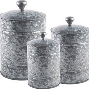 Home Essentials Set OF 3 Fiddle And Fern Galvanized Canister Set
