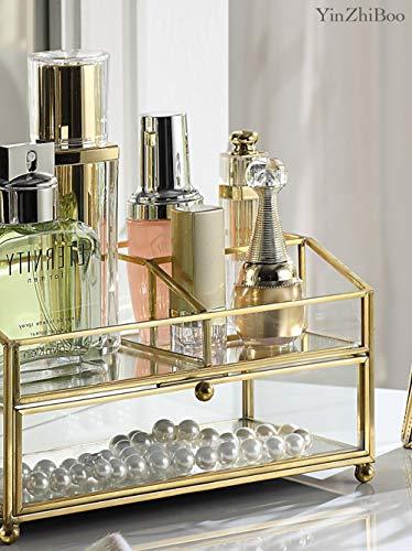 YinZhiBoo Makeup Organizer Glass Jewelry Storage with Brass Metal