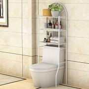 Tangkula 3-Tier Toilet Shelf Bathroom Space Saver Chrome Over The Toilet