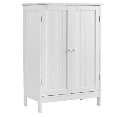 Tangkula Bathroom Floor Cabinet, Wooden Floor Storage Cabinet