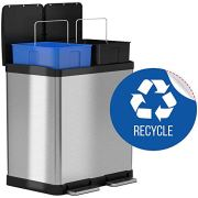 iTouchless 16 Gallon Dual Step Trash Can & Recycle Bin Stainless Steel