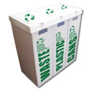 VictoryStore 3-in-1 Recycle Bin Set - Waste/Plastic/Cans
