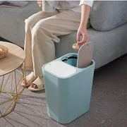 Wgch Trash Can, Plastic Trash Can with Lid Rectangle Push-Button