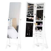 Mellcom Vertical Jewelry Cabinet, Frameless Full Length Mirror