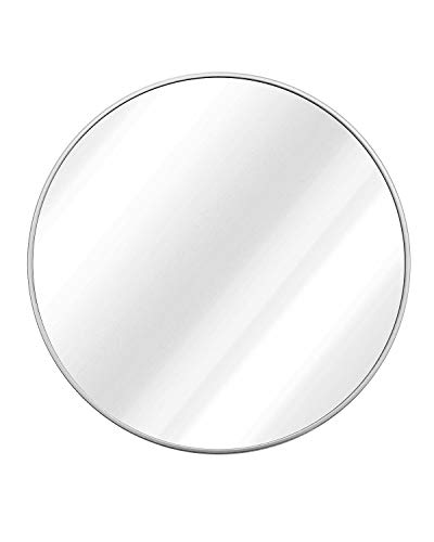 """TinyTimes 23.63"""" Modern Large Round Mirror, Brushed Framed"""