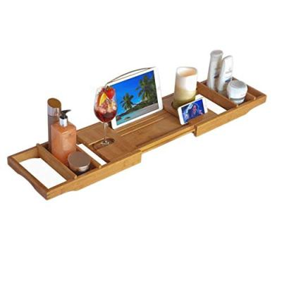 XGG Bathtub Trays Bath Trays Extendable Bathtub Rack Organiser Table Bamboo