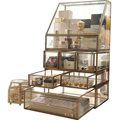 Large Mirror Glass Curio Cabinets Make Up Organizer Jewelry &Cosmetic Display