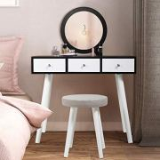 JAXSUNNY Makeup Vanity Table Dressing Desk with Round Mirror Sliding Drawers
