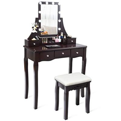 CHARMAID Vanity Set with Lighted Mirror, 10 Dimmable Light Bulbs Vanity Dressing