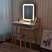 Vanity Table Set with Adjustable Brightness Mirror and Cushioned Stool