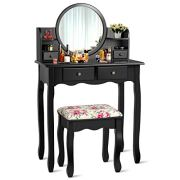CHARMAID Vanity Set with 4 Storage Shelves and 4 Drawers, Makeup Table