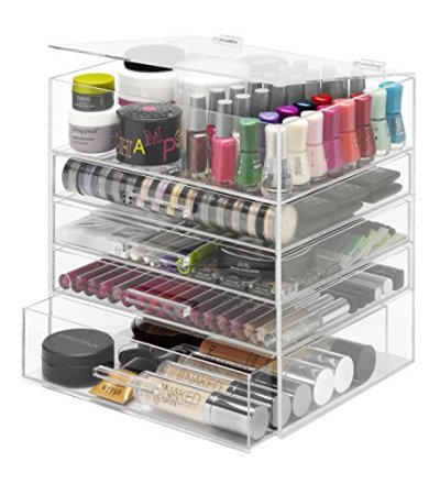 Whitmor 5 Tier Extra-Large Cosmetic Organizer and Jewelry Storage Display Case