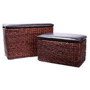 Eshow Ottoman Rattan Ottoman with Storage Hassocks and Ottomans Foot Rest