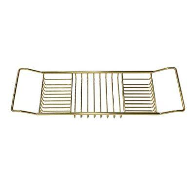 XGG Bath Caddy Tray Extendable Bathtub Rack Organiser Table Gold