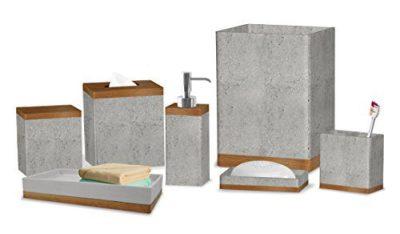 nu steel Concrete Collection Bathroom Accessories, 7 Bath Set Including Dispenser