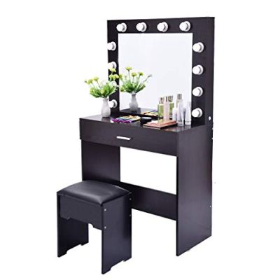 Fine Vanity Table Set Mirror with LED Lights, Dressing Table and Stool Set