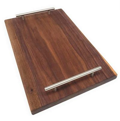 Solid Walnut Serving Tray with Beautiful Handles and No Sides