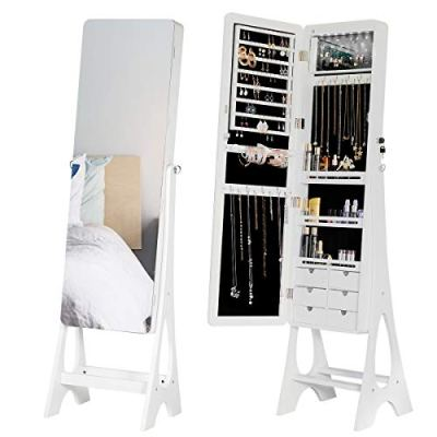 YOLENY Jewelry Organizer Jewelry Cabinet, Frameless Full Length Mirror