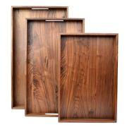 3 Set Wooden Tray Ottoman Tray With Handles FSC Natural Handmade Black