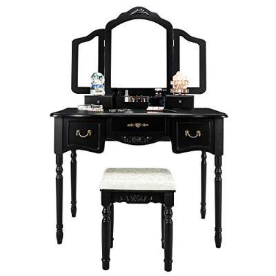 Bonnlo Large Vanity Set for Girls/Women/Adults 5 Drawers Makeup Dressing Table