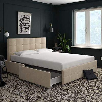 DHP Rose Storage, Upholstered Bed, Ivory Velvet, Queen