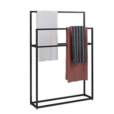 Y-only Metal Modern Free-Standing Towel Rack Stand, Towel Stand Black