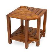 Teak Corner Shower Bench with Basket 17.5 Inch, Fully Assembled