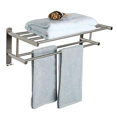 Alise Bathroom Towel Rack Towel Shelf with Two Towel Bars