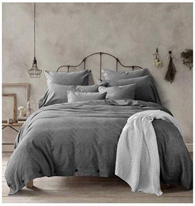 Doffapd Duvet Cover King, Washed Cotton Duvet Cover Set