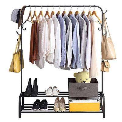 Clothing Garment Rack with Shelves, Metal Cloth Hanger Rack Stand