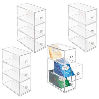 mDesign Plastic Kitchen Pantry, Cabinet, Countertop Organizer Storage Station