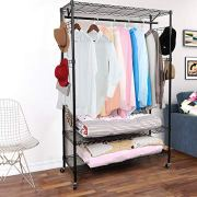 Homdox 3-Tiers Big Size Heavy Duty Wire Shelving Unit Garment Rack