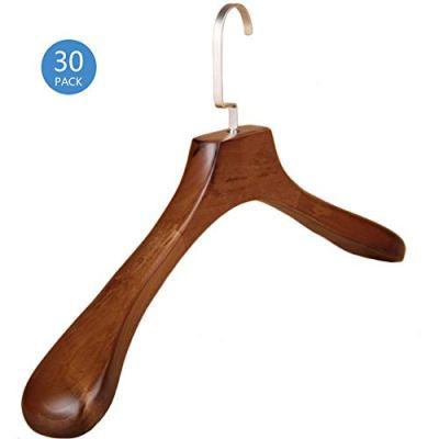 PeiQiH Wooden Suit Hangers, Heavy Duty Durable No-Trace Wide Shoulder