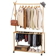 COPREE Bamboo Rolling Garment Clothes Multifuctional Laundry Rack