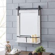 FirsTime & Co. Ivywood Barn Door Shelf Wall Mirror