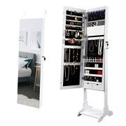 M&W LED Mirror Jewelry Armoire, Lockable Standing Jewelry Cabinet
