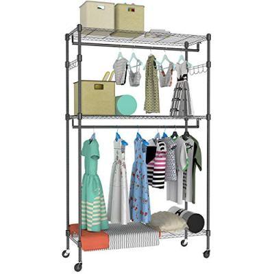 Kemanner Heavy Duty Clothing Garment Rack 3 Shelves Wire Shelving