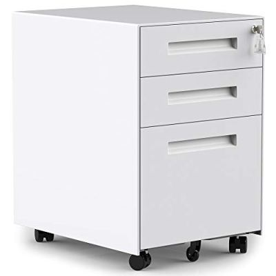 3 Drawers Mobile File Cabinet with Lock, Under Desk White File Cabinet